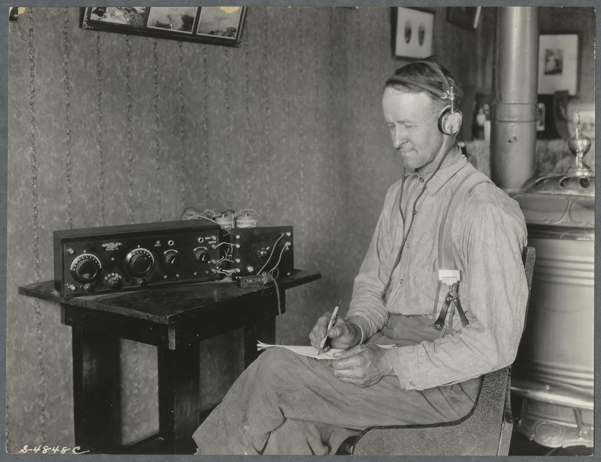 Farmer listening to KOAC