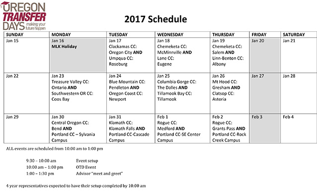 2017 Oregon Transfer Days schedule