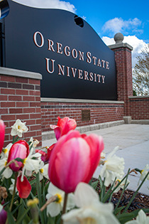 Entrance sign to Oregon State University