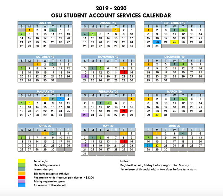 Academic Calendar Osu.Billing Payment Tuition Financial Aid Student Services