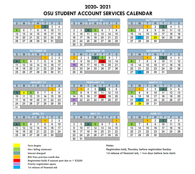Osu 2021 Calendar Billing & Payment – Tuition & Financial Aid – Student Success